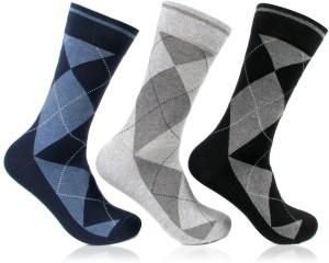 Bonjour Argyle Men's Self Design Crew Length Socks