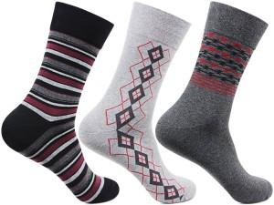 Bonjour Men's Self Design Crew Length Socks