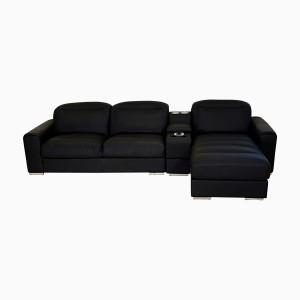 Godrej Interio ACOUSTICA L-SHAPE BLK SOFA Leatherette 3 Seater Sectional