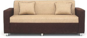 Bharat Lifestyle Tulip 3 Seater Brown Cream Color Solid Wood 3 Seater Sofa