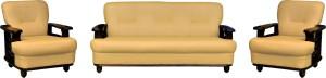 Knight Industry Leatherette 3 + 1 + 1 Rosewood Finish Sofa Set
