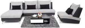 Furnicity Fabric 3 + 1 + 1 Light Grey Sofa Set