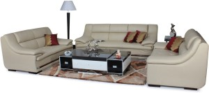 Home City Leatherette 3 + 2 + 2 Beige Sofa Set
