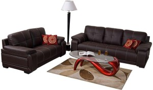 Home City Leatherette 3 + 2 Brown Sofa Set