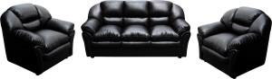 Knight Industry Leatherette 3 + 1 + 1 BLACK Sofa Set