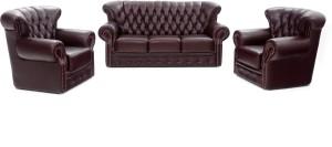 Furnicity Fabric 3 + 1 + 1 Maroon Sofa Set