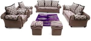 Furnicity Leatherette 4 + 1 + 1 Beige Sofa Set