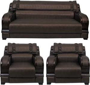 HOMESTOCK Solid Wood 3 + 1 + 1 Brown Sofa Set