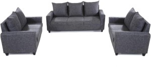 Furnicity Fabric 3 + 2 + 2 Grey Sofa Set