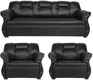 HOMESTOCK Leatherette 3 + 1 + 1 Black Sofa Set
