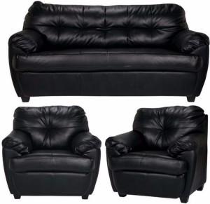 FabHomeDecor Rosabelle Comfy Leatherette 3 + 1 + 1 Black Sofa Set