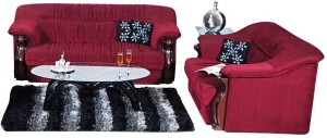Home City DEFINE Fabric 3 + 2 Maroon Sofa Set