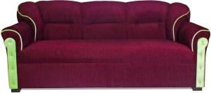 HOMESTOCK Fabric 3 + 1 + 1 Maroon Sofa Set
