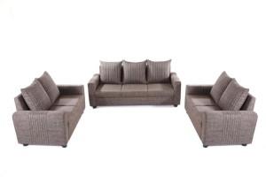 Furnicity Fabric 3 + 2 + 2 Brown Sofa Set