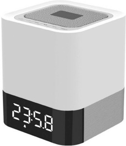 MSE Touch Sensor LED Light with Digital Clock High Base_WHT11 Portable Bluetooth Mobile/Tablet Speaker