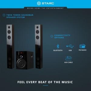 Starc Sb34 Twin Tower Soundbar With Bluetooth Usb Aux In Fm Radio Soundbarblack 2 1 Channel