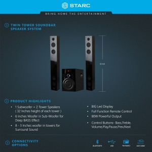 Starc SB34 Twin tower Soundbar with Bluetooth,USB,AUX-IN,FM Radio Bluetooth  SoundbarBlack, 2 1 Channel