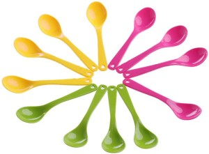 Dragon 12 Pcs Food Plastic Spoon Set for Baby Feeding Plastic Table Spoon Set