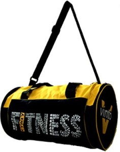 Vinto Crazy Fitness Wording Style Yellow Duffel Bag