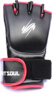 SportSoul MMA Cross Cuffs Boxing Gloves (M, Black, Red)