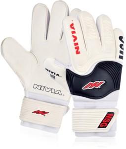 Nivia Mega Soft Grip Large GG-884 Goalkeeping Gloves (L, White, Black)