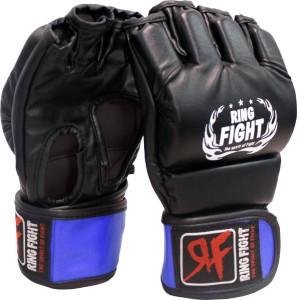 Ring Fight MMA UFC Open Finger Grappling Gloves Boxing Gloves (L, Black, Blue)