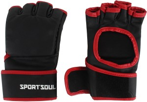SportSoul MMA Open Palm Gym & Fitness Gloves (L, Black, Red)