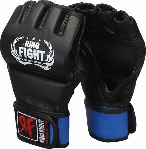 Ring Fight MMA UFC Grappling Gloves Boxing Gloves (M, Black, Blue)