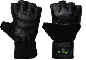 Star X Pure Leather Gym & Fitness Gloves (Free Size, Black)