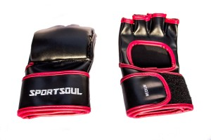 SportSoul MMA Open Palm Gym & Fitness Gloves (S, Black, Red)