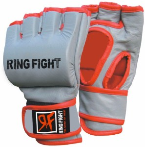 Ring Fight Grappling Gloves Boxing Gloves (M, Grey, Red)
