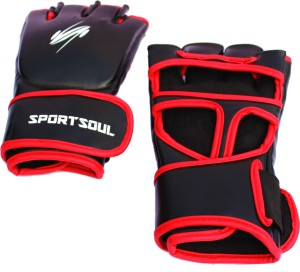 SportSoul MMA Cross Cuffs Boxing Gloves (L, Black, Red)