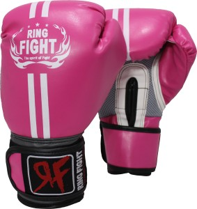 Ring Fight Pro Boxing Gloves (L, Pink, Grey)