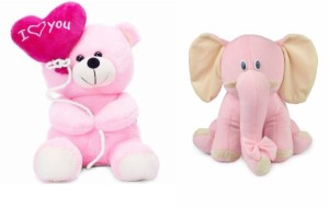 Deals India Deals India I Love You Balloon Heart Teddy Pink 30 cm and Pink Elephant (25 cm) combo  - 20 cm