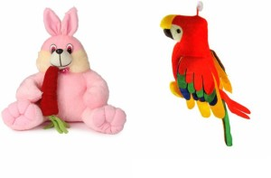 Deals India Deals India Bunny With Carrot - 35 Cm And Musical Parrot (20 cm)  - 35 cm