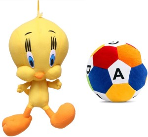 MGPLifestyle Combo of Yellow Soft Plush Tweety & Soft Toy Ball  - 10 cm