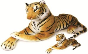 S S Mart Mother Large Tiger 80 CM with 32 CM Baby Stuff Animal  - 80 cm