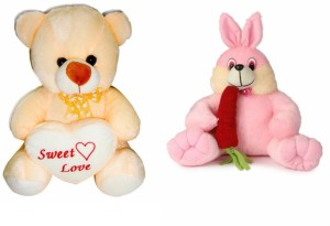 Deals India Deals India George Teddy Bear - 30 cm And Bunny With Carrot (35 cm)  - 30 cm