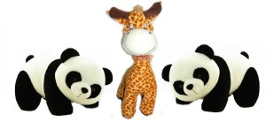 Cuddles Lovely Looking Pandas with Smiling Giraffe Combo  - 26 cm