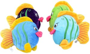 Deals India Multicolor Fish Soft Toy (Set Of 4)  - 6.7 inch