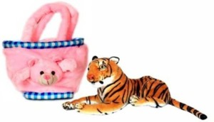 PIST Soft Toys Combo Tiger&Pink Basket  - 26 cm