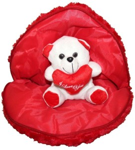 PIST P I Soft Toys Valentine's Day Gift Love Heart with Teddy Red Color  - 35 cm