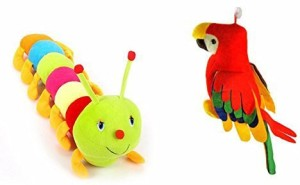 MGPLifestyle Musical Parrot (30 Cm) And Colourful Caterpillar (55 Cm)Combo  - 9 cm