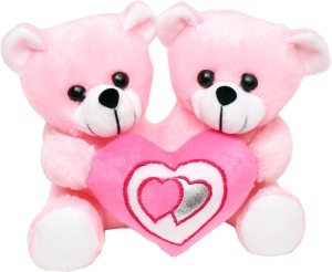 Tabby Toys Cute Couple Teddy With Heart  - 22 cm