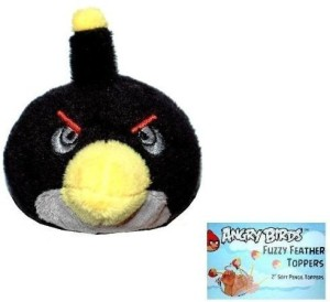 Angry Birds Plush Fuzzy Feather Toppers Black Bird (2 Inch)