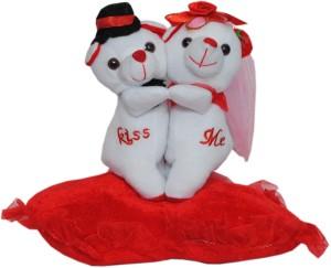 Trimurti Imported Fur Beautiful Teddy Couple on Heart  - 30 cm