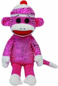 TY Beanie Babies Sock Monkey Purple Sparkle Plush