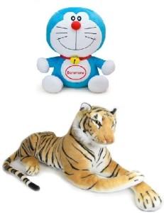VRV Multicolour Doraemon and Tiger Stuff Toy  - 15 cm