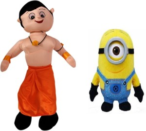 Poonam Big Size Chota Bheem Kids Plush Soft Toy 50cm (20inch) With 3D 1 Eyed blue Minion 25cm  - 50 cm