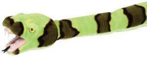 Wild Republic Green Rock Rattle Snake Plush With Vinyl Mouth And Teeth